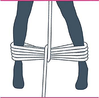 nudo bondage bastón de mando, quinto paso