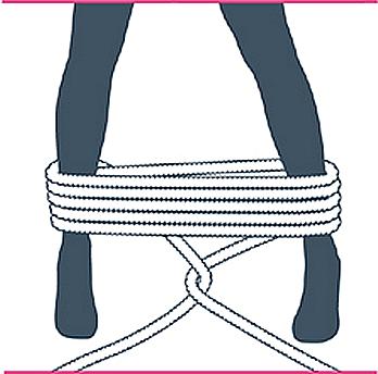 nudo bondage bastón de mando, cuarto paso