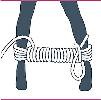 nudo bondage bastón de mando, octavo paso