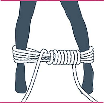 nudo bondage bastón de mando, sexto paso