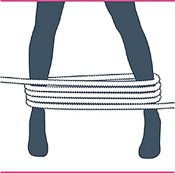 nudo bondage bastón de mando, tercer paso