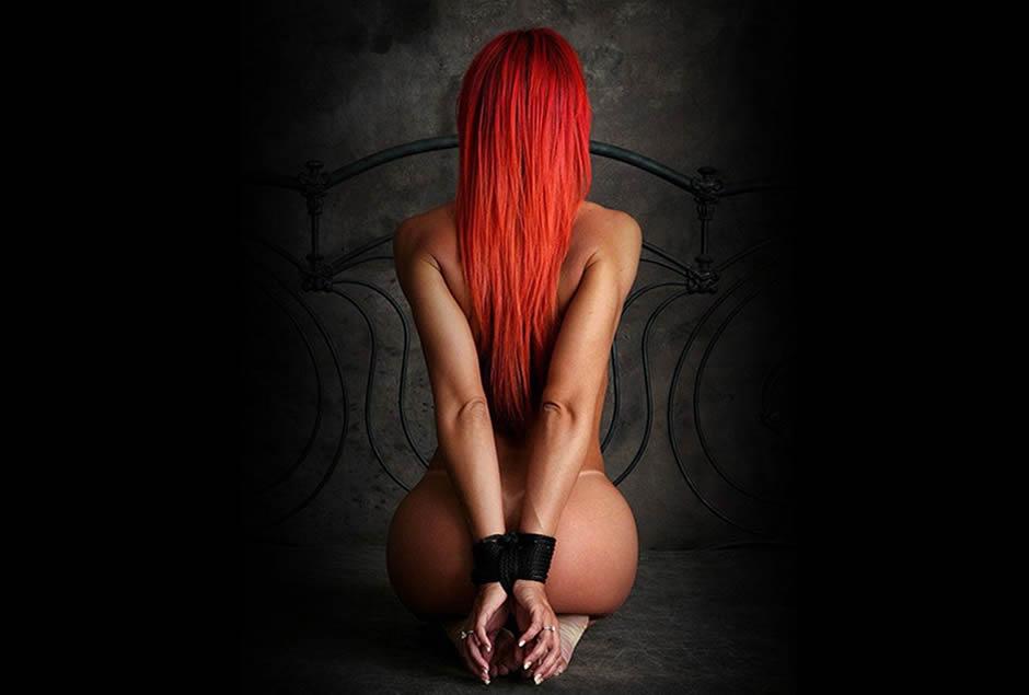 bondage, mujer pelirroja