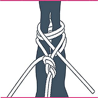 nudo bondage contrafuerte, séptimo paso