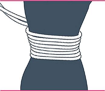 nudo bondage corsé, paso cinco