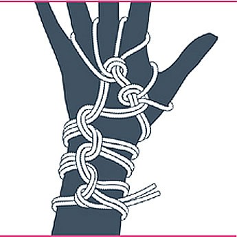nudo bondage guantes, paso diez