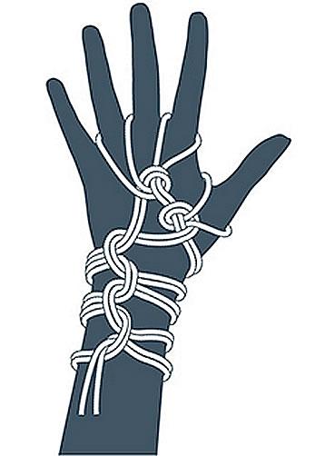 nudo bondage guantes, paso nueve