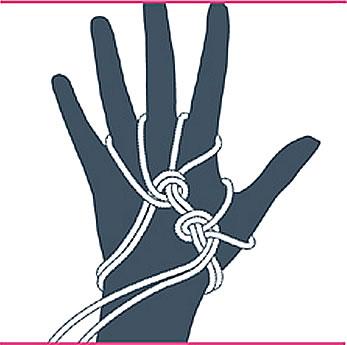 nudo bondage guantes, paso seis